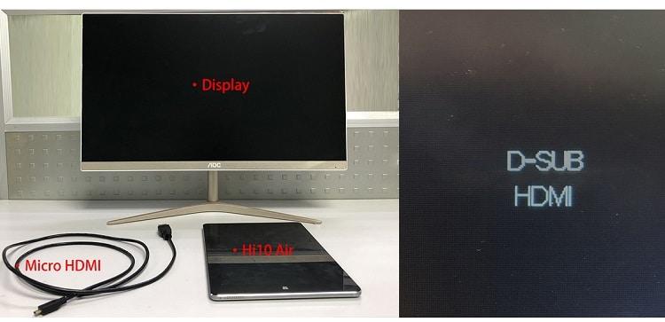 Conexión de CHUWI Hi10 Air con cable microHDMI