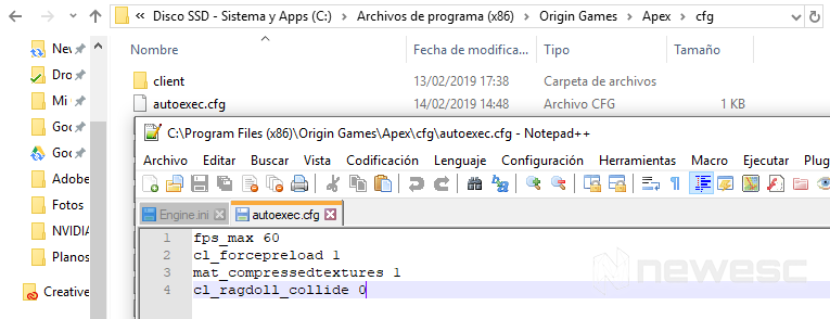 Configuración PC Apex Legends Autoexec
