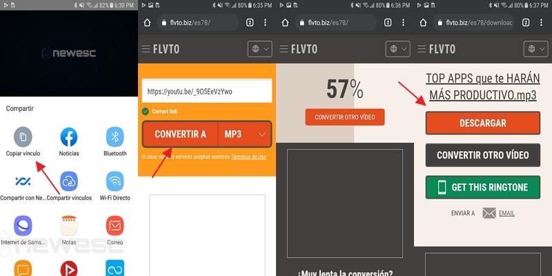 Convertir videos de youtube a mp3 con flvto