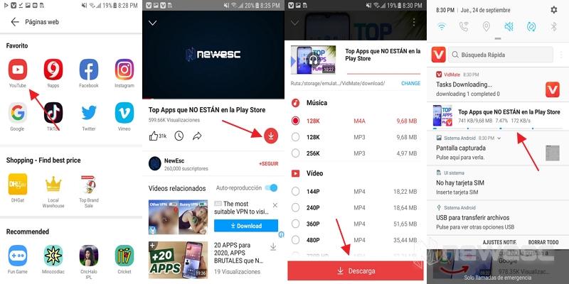 Convertir videos de youtube a mp3 con vidmate