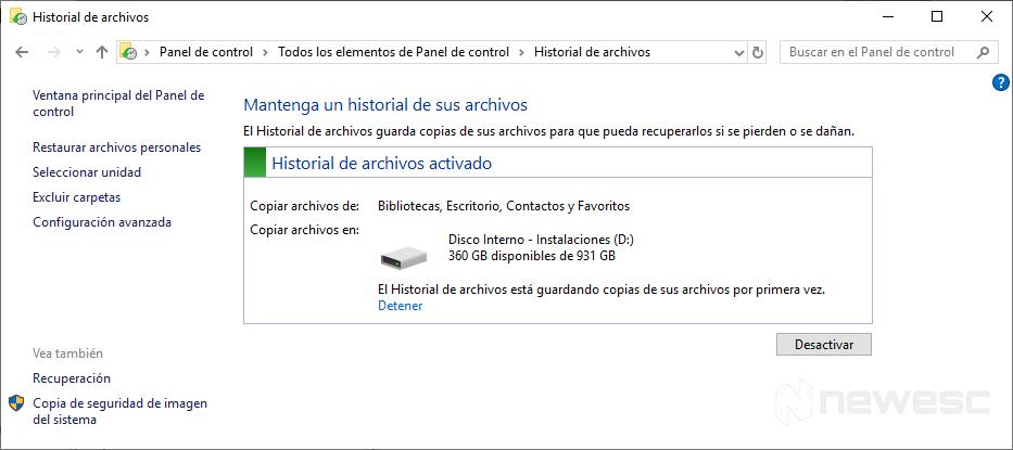 Copia de Seguridad en Windows 10 historial de Archivos