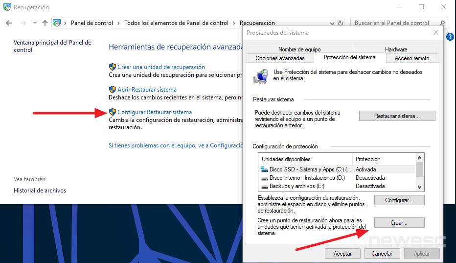 Copia de seguridad Windows 10 Punto de restauración