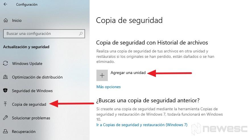 Copia de seguridad Windows 10