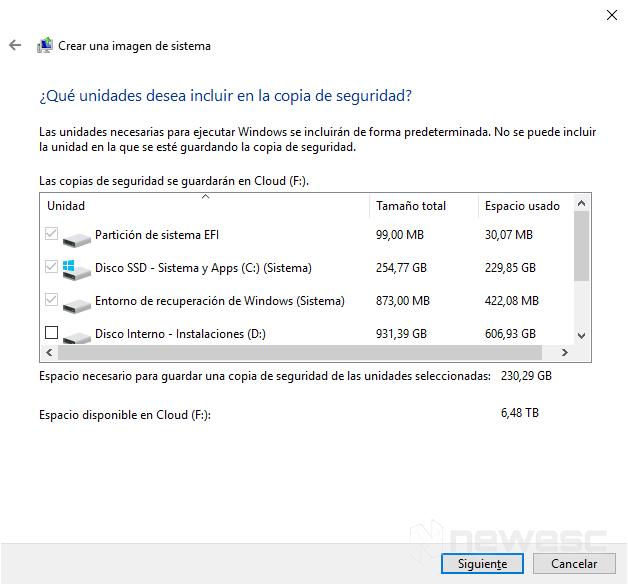 Copia de seguridad completa de Windows 10 3