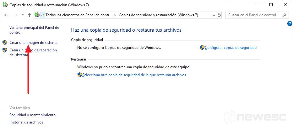 Copia de seguridad completa de Windows 10