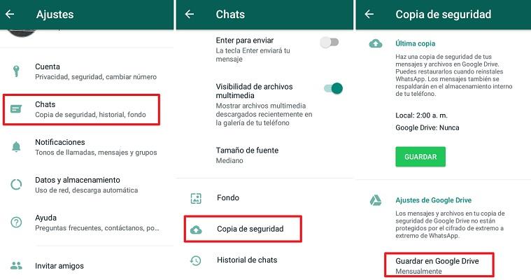 Copia de seguridad en Whatsapp