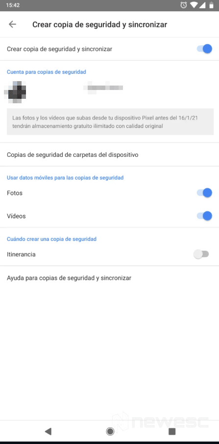 Crear copia de seguridad de fotos con Google Fotos