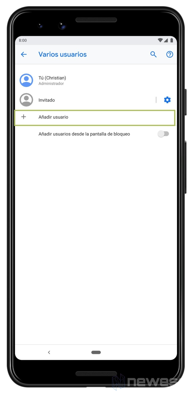 Crear un usuario para los hijos en Android - Control parental