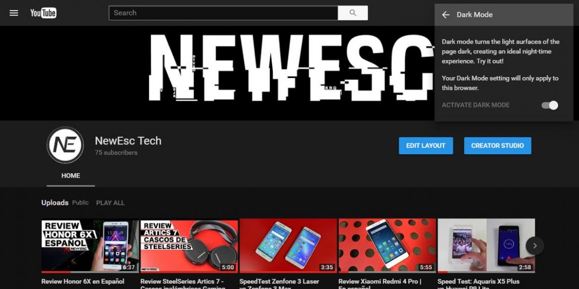Dark Mode YouTube NewEsc