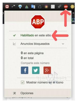 Desactivar AdBlock Plus