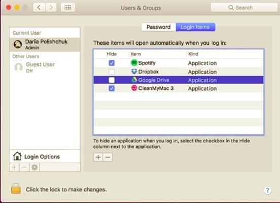 Desactivar apps de arranque macOS