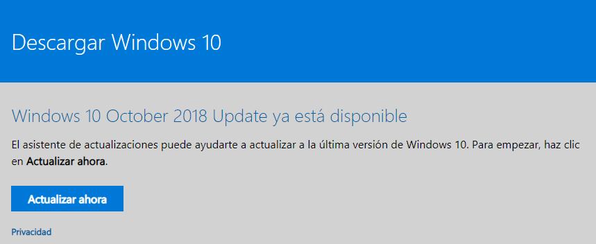 Descarga la nueva versión de Windows 10