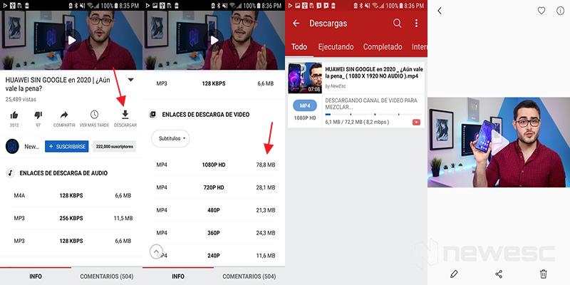Descargar videos en Videoder