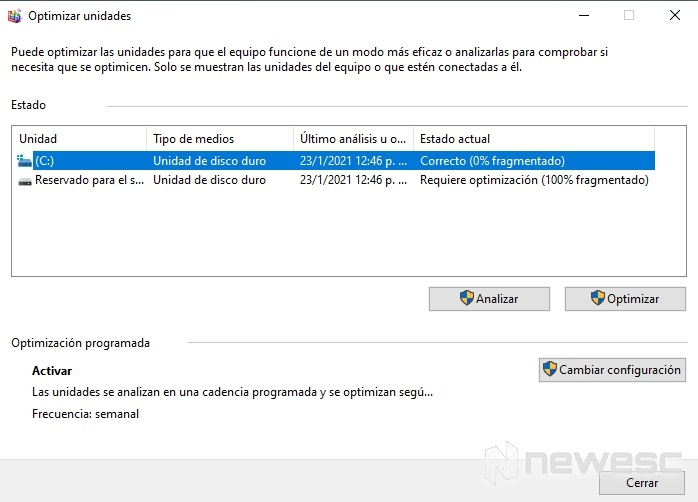 Desfragmentar disco duro Windows 10 1