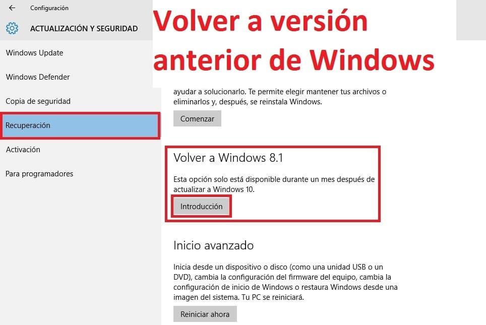 Desinstalar Windows 10 usando el punto de recuperacion