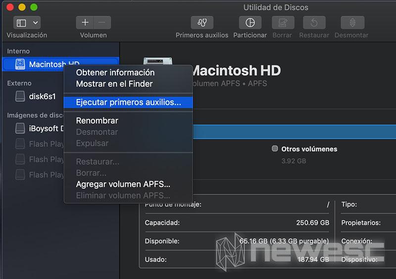 Disco duro no reconocido macOS Utilidad de Discos