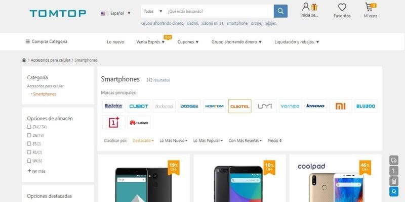 Donde comprar móviles chinos en España - TomTop