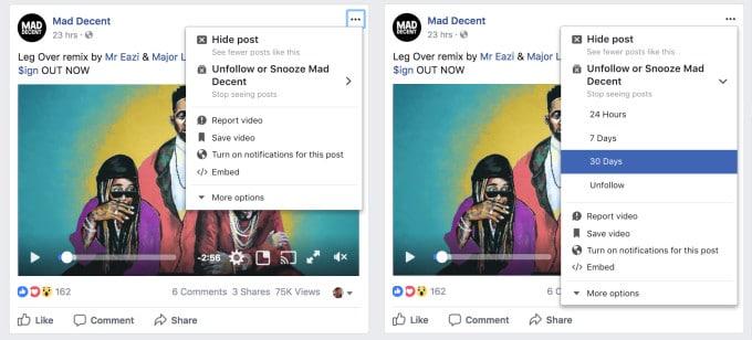 Dormitar Snooze Facebook nuevo update
