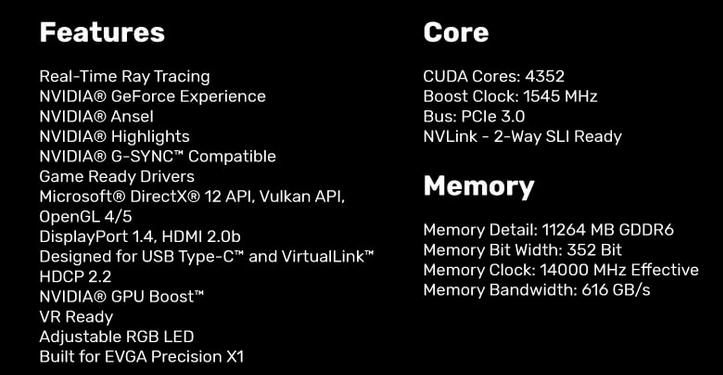 EVGA Geforce RTX 2080 TI Black edition Especificaciones