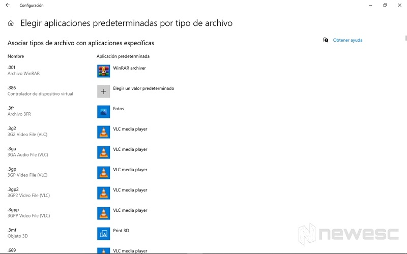 Elegir aplicaciones predeterminadas por tipo de archivos