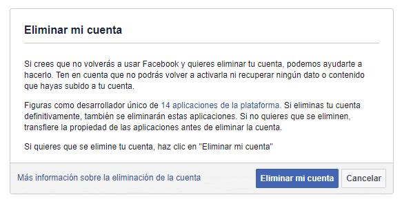 Eliminar cuenta de Facebook Definitivamente