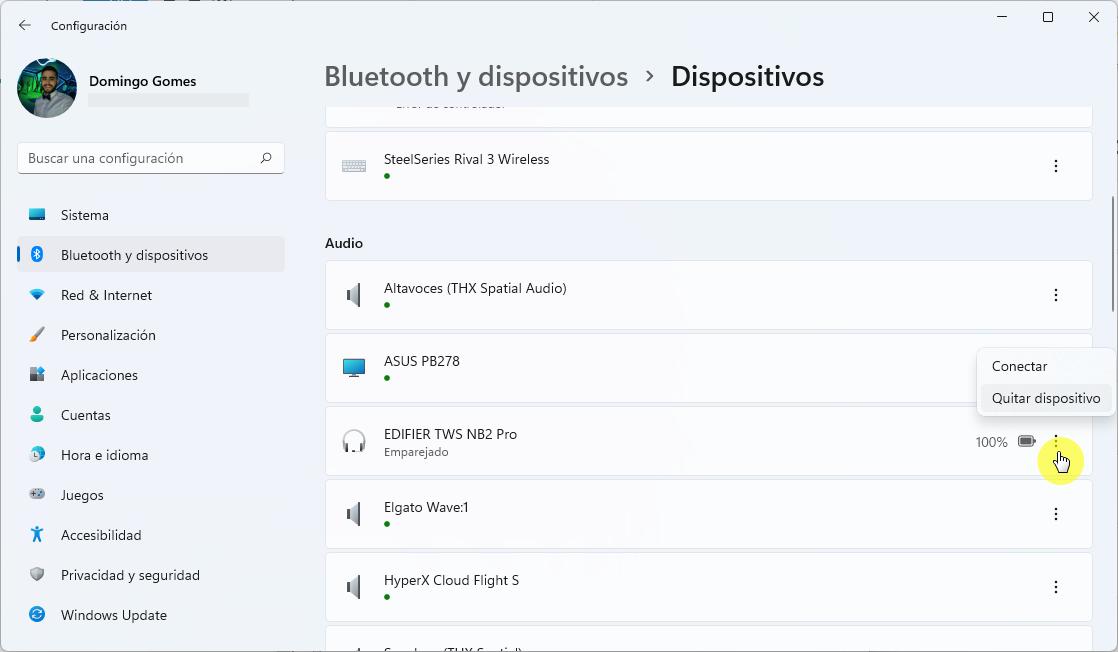 Eliminar dispositivos emparejados con Bluetooth en Windows 11
