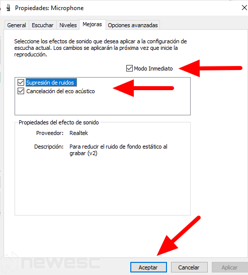 Eliminar ruido de fondo micrófono Windows6