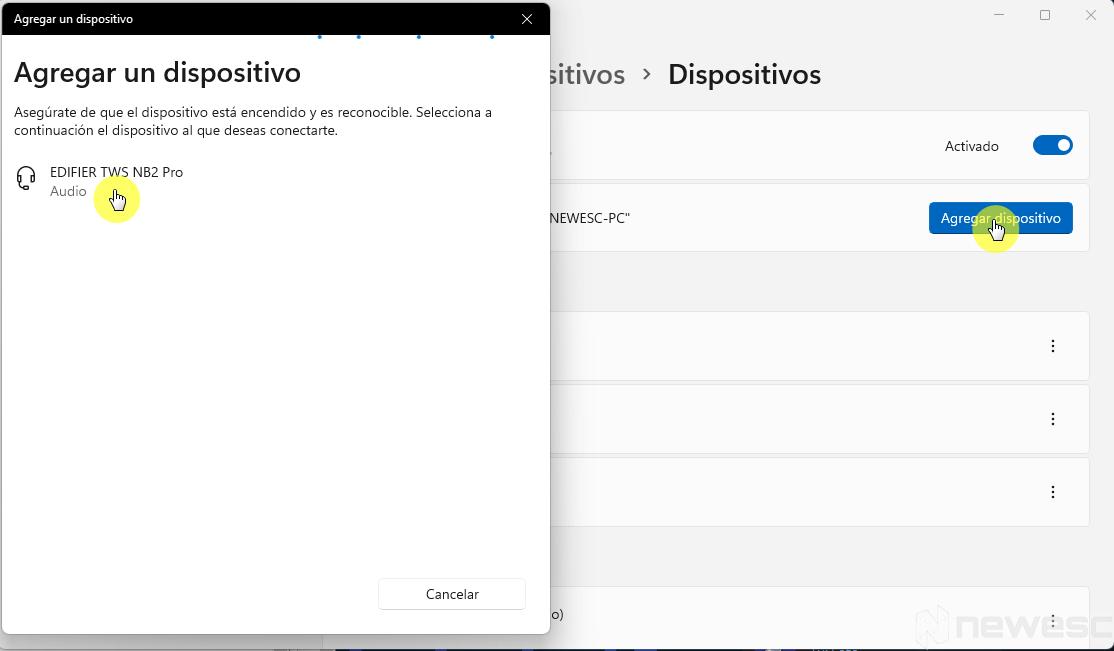 Emparejar dispositivos mediante Bluetooth en Windows 11