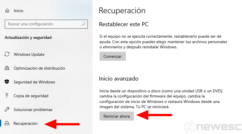 Entrar en la Bios Windows10 2