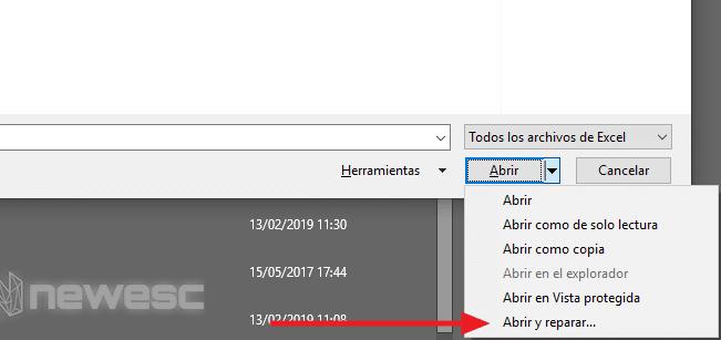 Error en Hoja de Excel - Reparar archivo