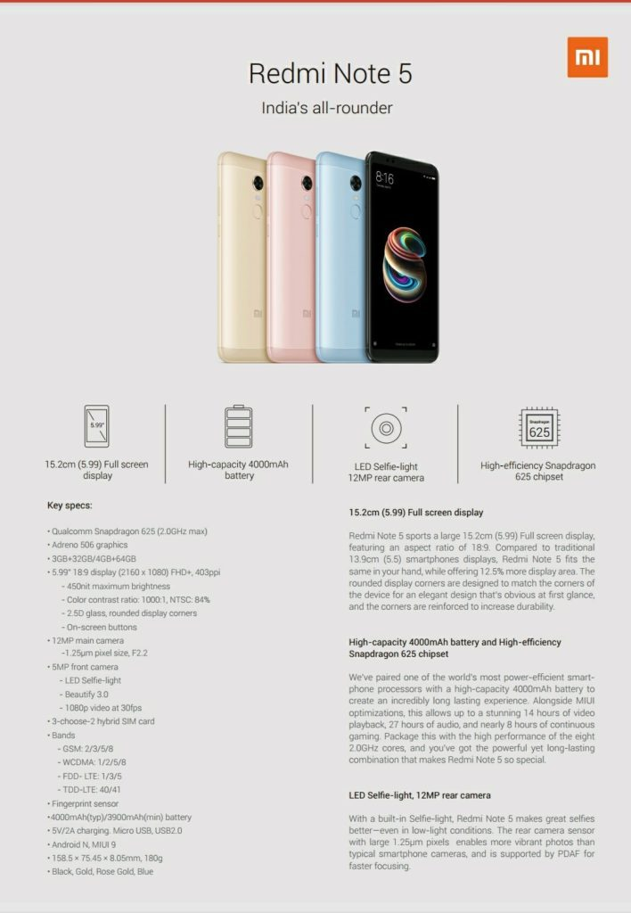 Especificaciones Redmi-Note-5