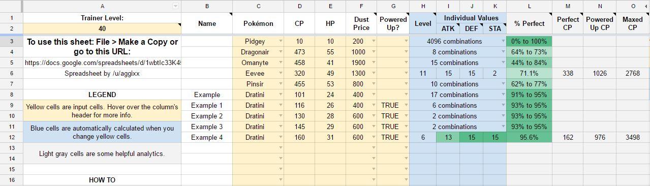 Excel Calculadora IV pokémon GO