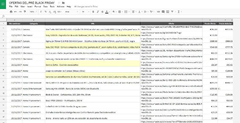 Excel de ofertas pre black friday