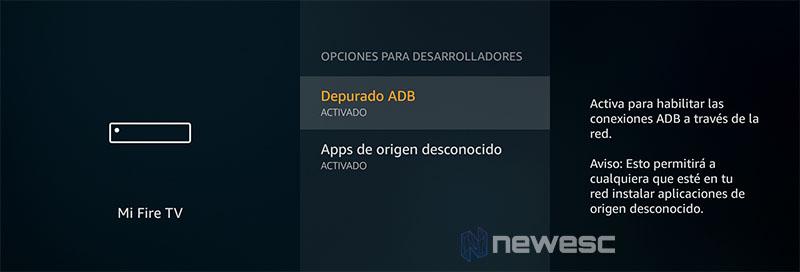 Fire TV Activar depuración ADB y Apps de origen desconocido
