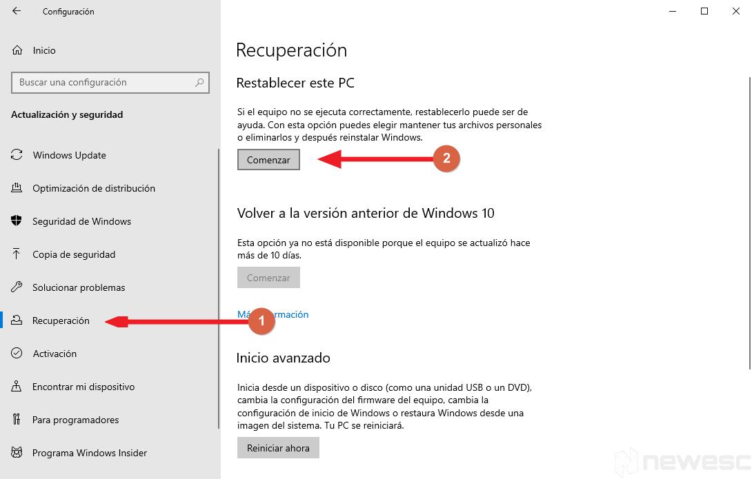 Formatear Windows 10 a valores de Fabrica 002