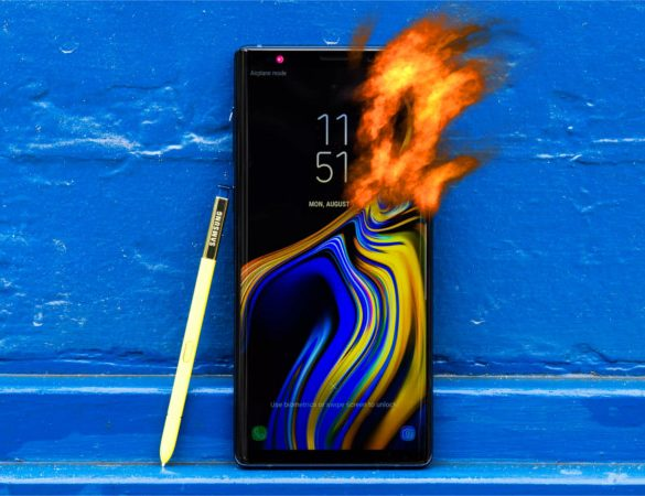 Galaxy Note 9 incendiado