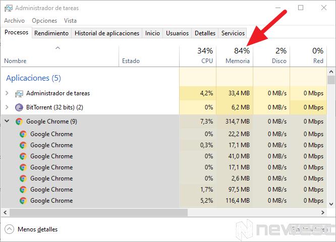 Google chrome rápido administrador de tareas 1