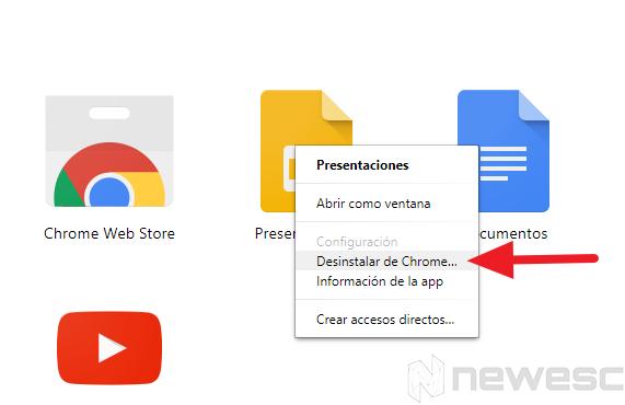 Google chrome rápido desinstalar apps