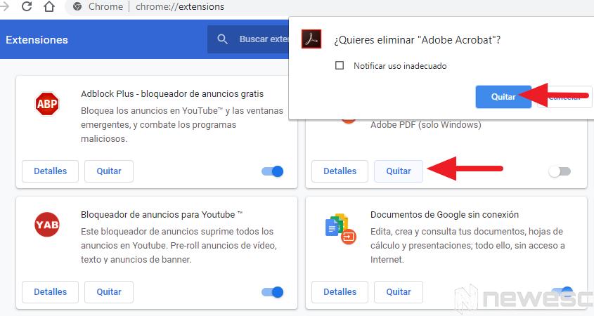 Google chrome rápido eliminar extensiones