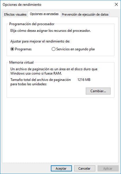 Mejorar el rendimiento del PC con memoria virtual 1