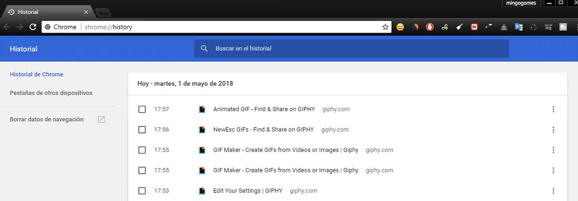 Historial completo en Chrome
