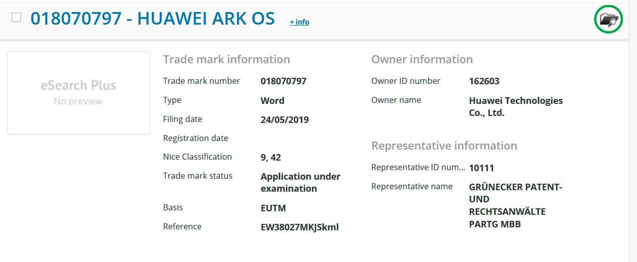 Huawei Ark OS EUIPO