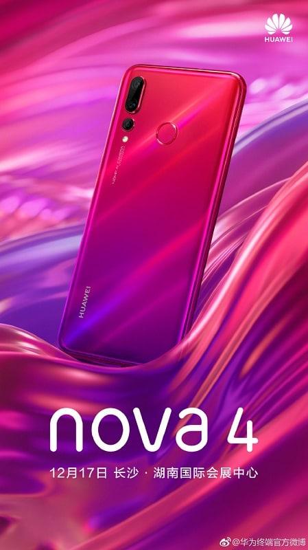 Huawei Nova 4 nuevo teaser en Weibo