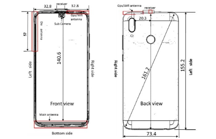 Huawei P Smart 2019 plano del diseño