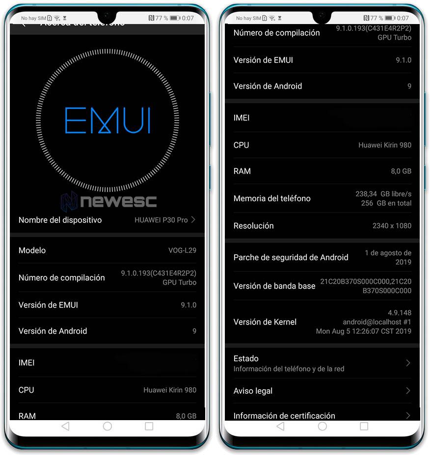 Huawei P30PRO Software