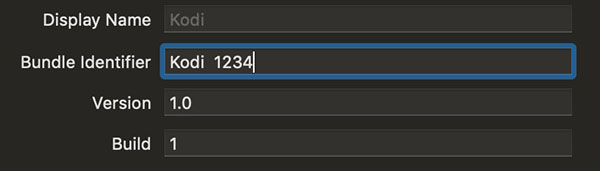 Instalar Kodi en Apple TV 4K Xcode cambiar bundle identifier