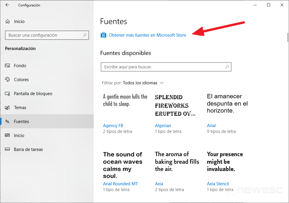 Instalar fuentes en Windows 10 - manera oficial 2