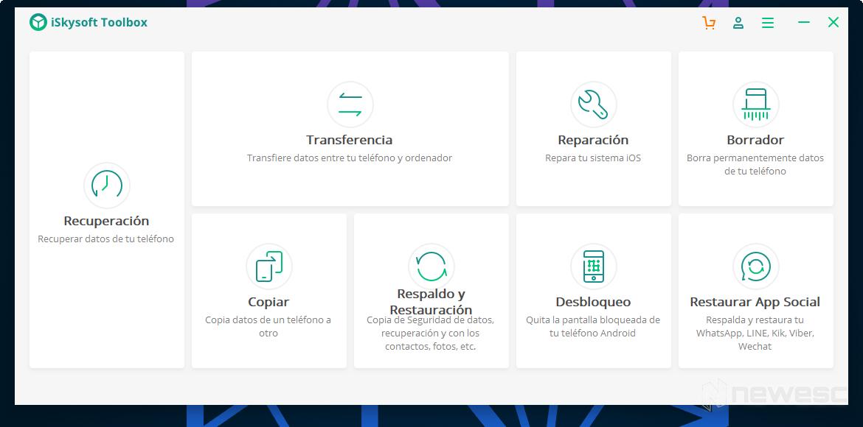 Iskysoft Toolbox Menu Principal en español