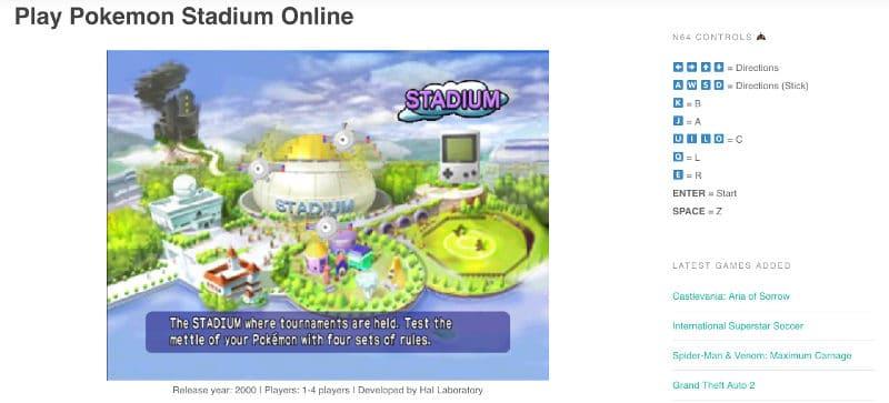Jugando Pokemon Stadium Online