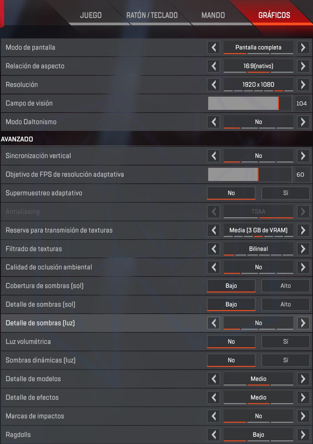 La Mejor configuración de APEX para PC